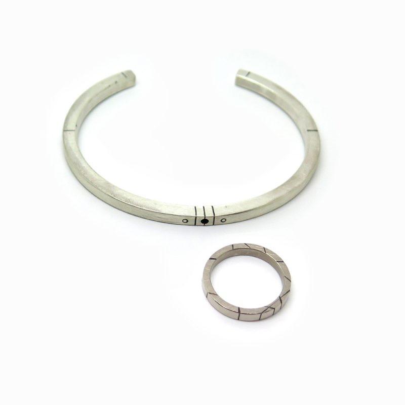 Bracelet et bague section carrée pour homme