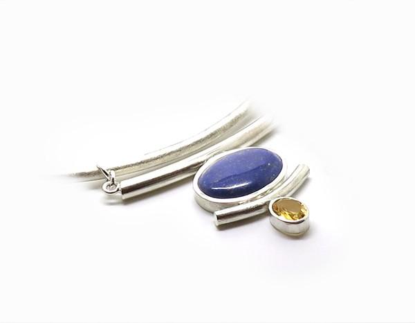 Collier de créateur en argent lapis lazuli et citrine